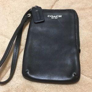 Coach Black Leather Credit Card Holder Wristlet